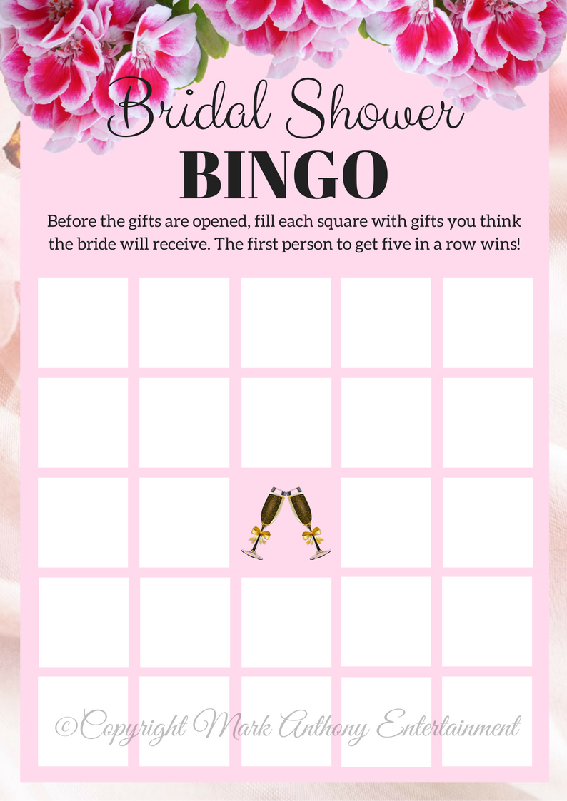 3 printable bridal shower games